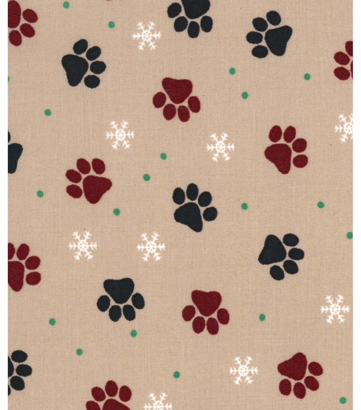 Holiday Showcase™ Christmas Cotton Fabric 43''-Pawprints on Beige