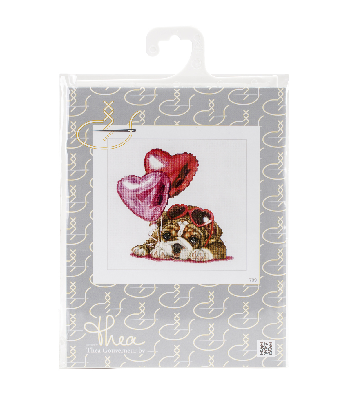 Thea Gouverneur Valentine\u0027s Puppy On Aida Counted Cross Stitch Kit