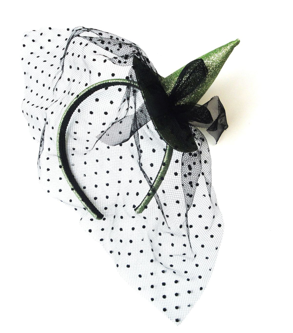 Maker\u0027s Halloween Lime Glitter Witch Hat Fascinator with Net