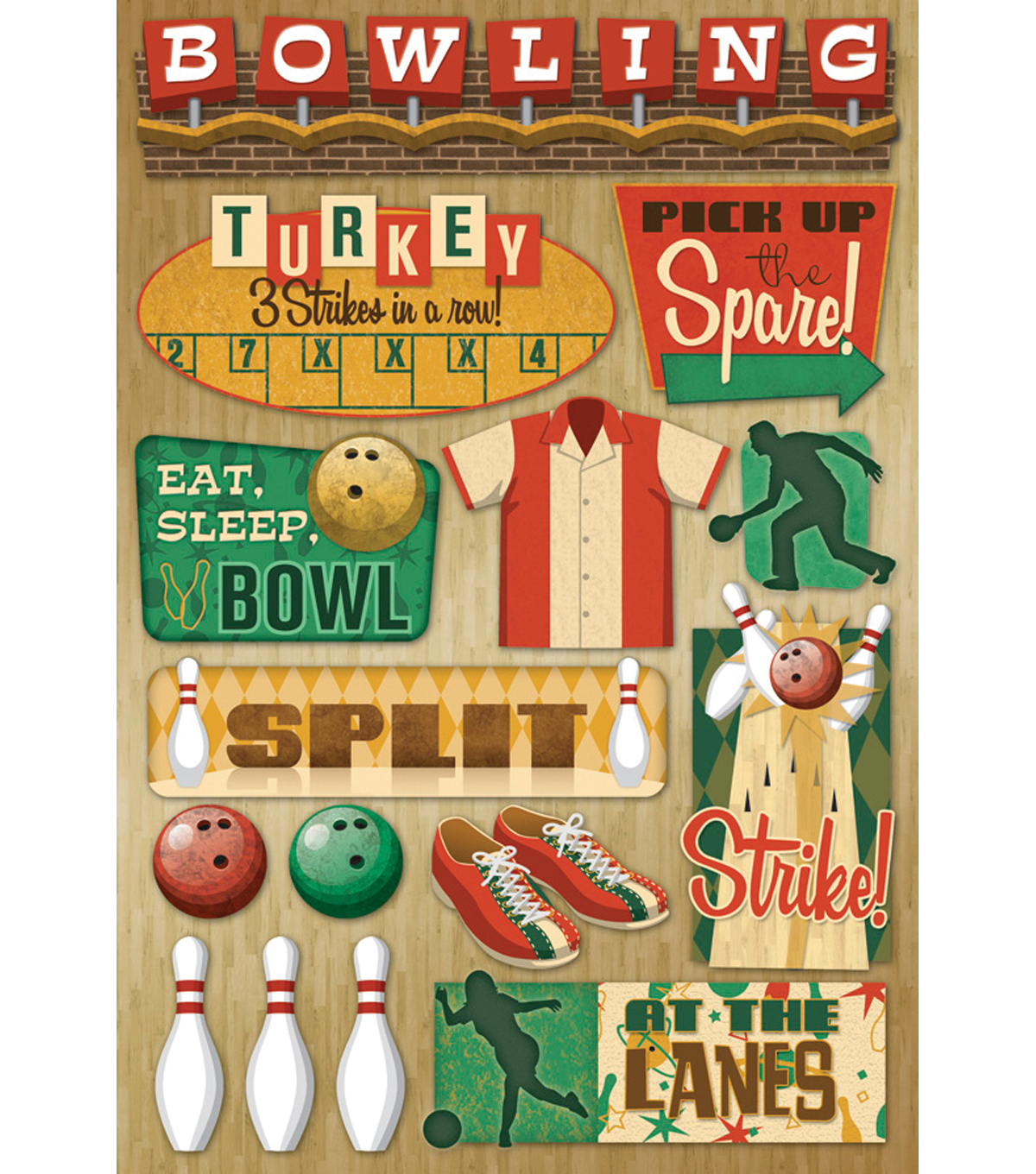Karen Foster Bowling Cardstock Stickers 5.5\u0022X9\u0022-At The Lanes