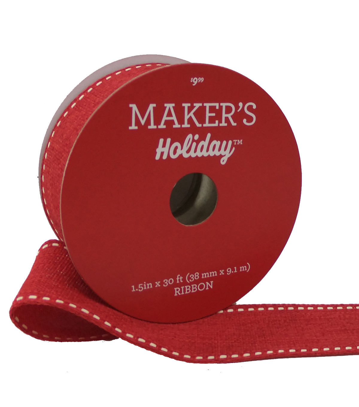 Maker's Holiday Christmas Ribbon 1.5''X30'-Red with White Knit Edge
