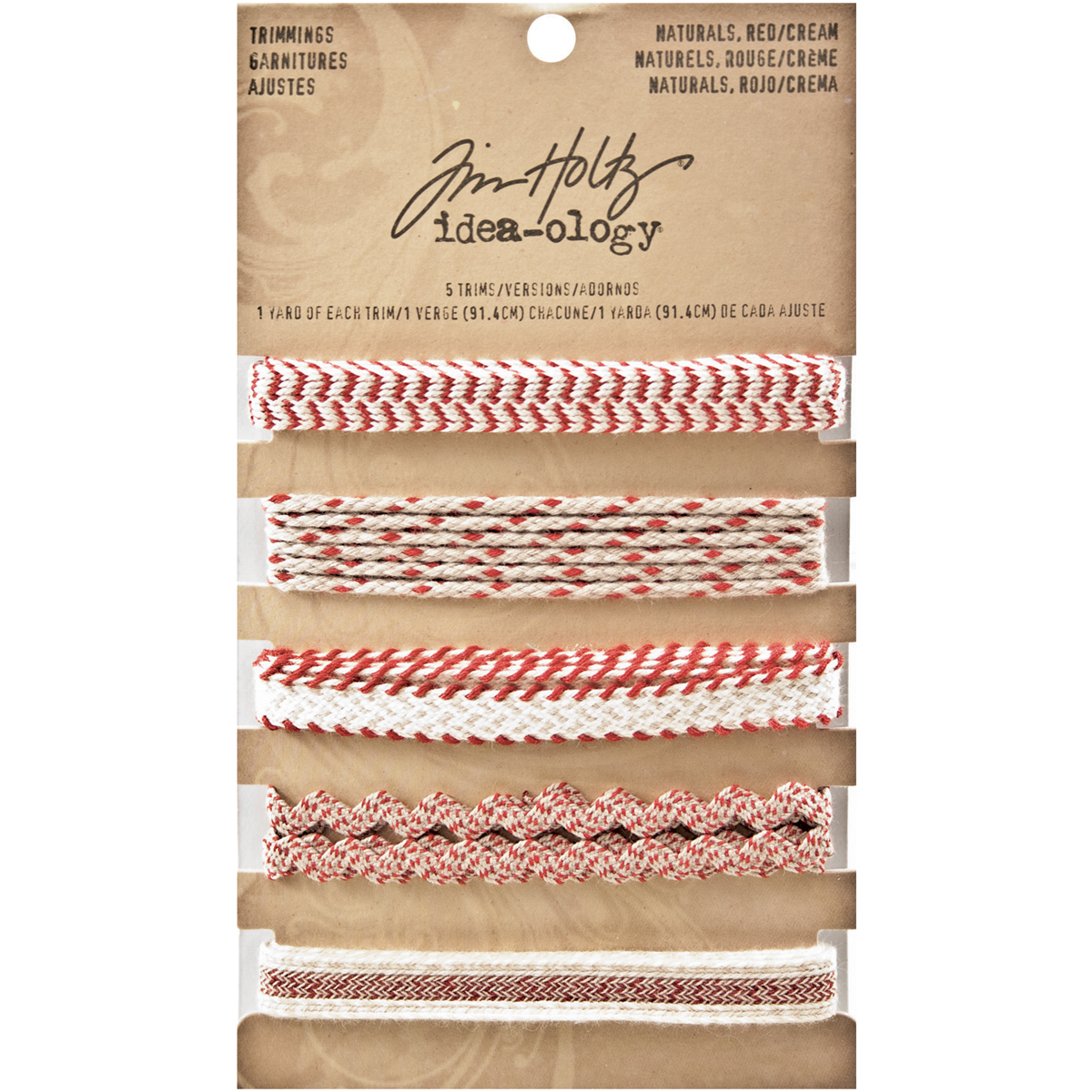 Idea-Ology Naturals Trimmings 5 Styles/1 Yard Each-Red/Cream
