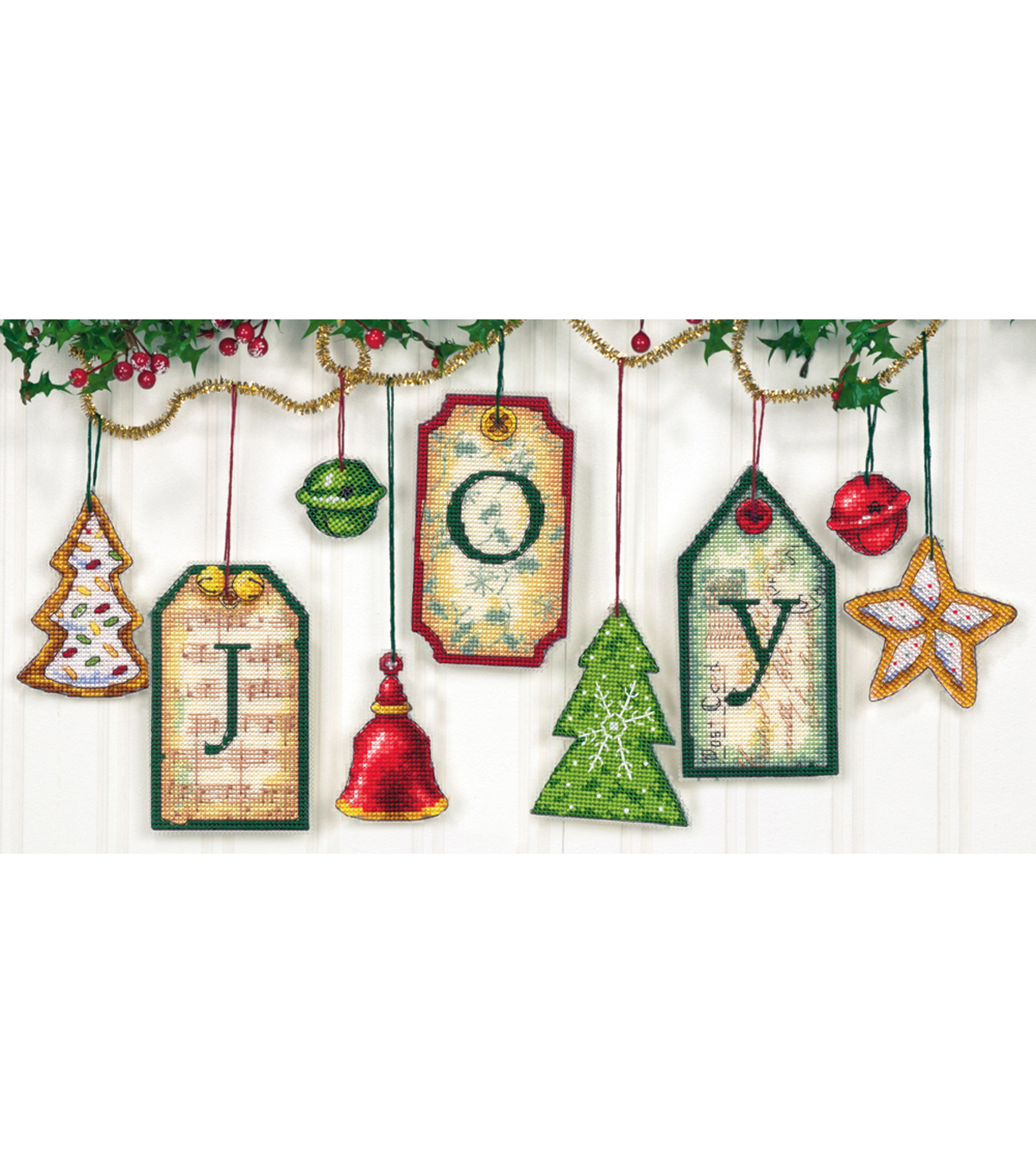 Joy Tag Ornaments Counted Cross Stitch Kit-5\u0022 High Set Of 9