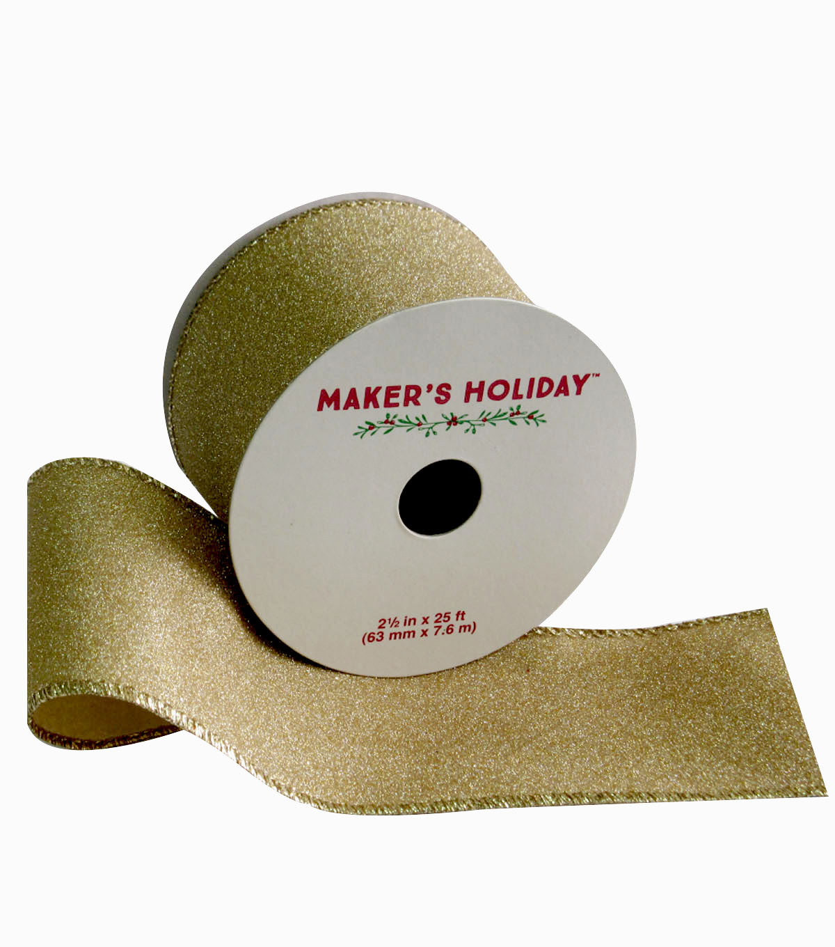 Maker's Holiday Glitter Wired Ribbon 2.5''x25'-Gold