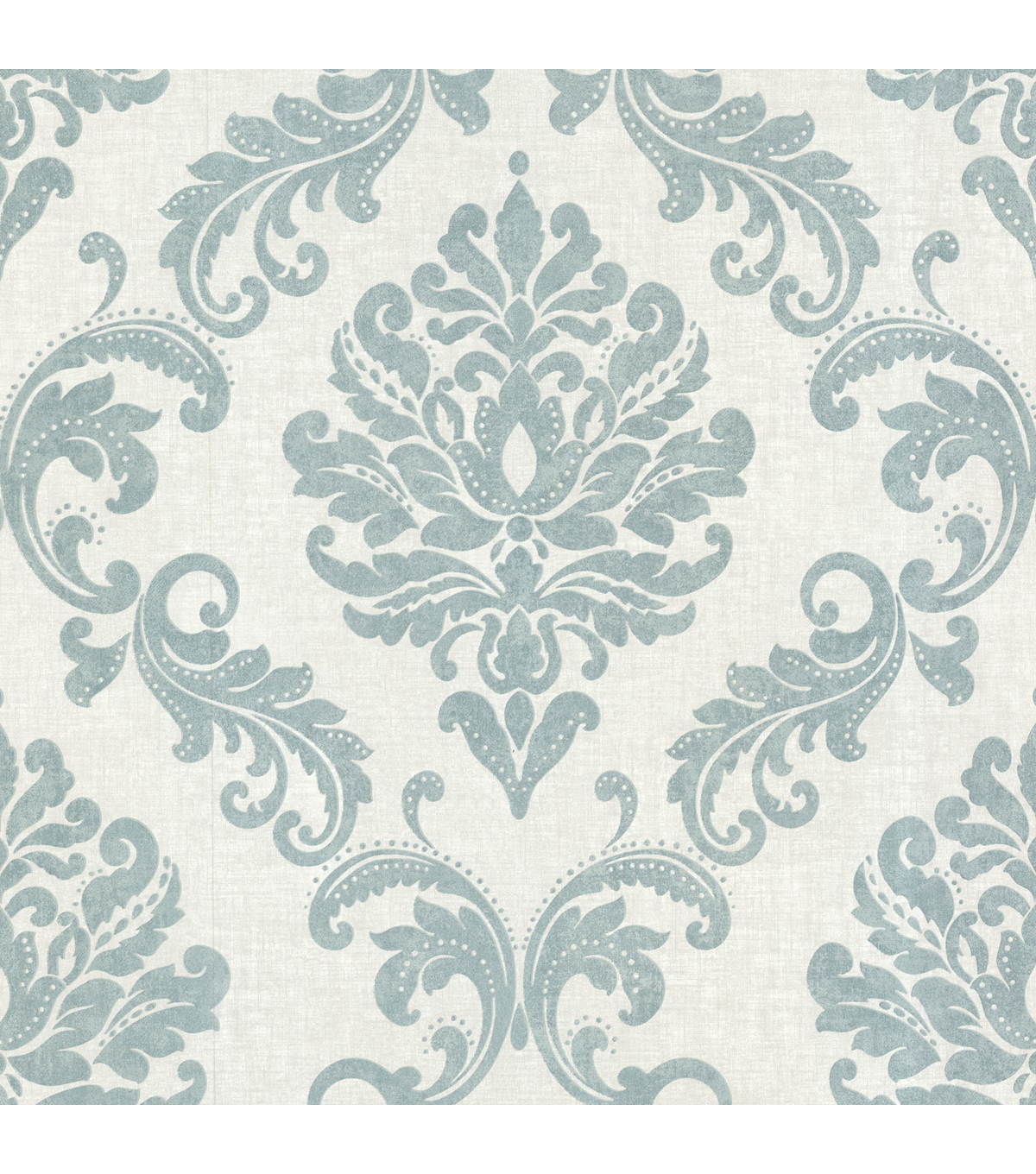 Sebastion Aqua Damask Wallpaper Sample