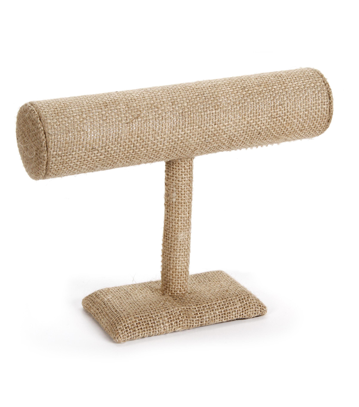 Burlap Covered Jewelry Bar Stand -  8.75 inches