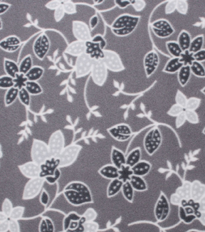 "Blizzard Fleece Fabric 59""-Gray Floral"