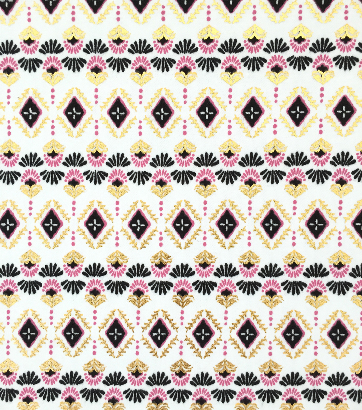 Doodles Juvenile Apparel Fabric 57\u0022-Foiled Tribal Interlock