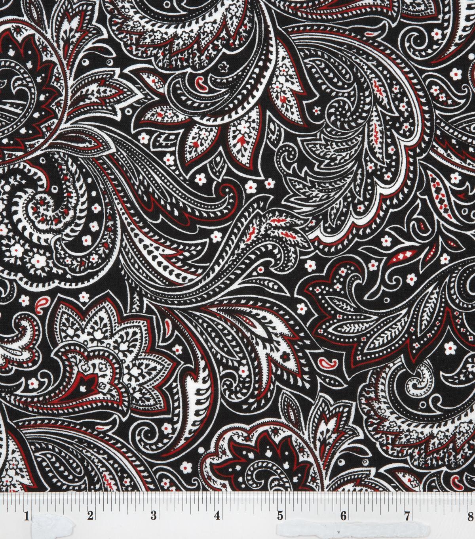 Keepsake Calico Fabric-Paisley Black White Red | JOANN