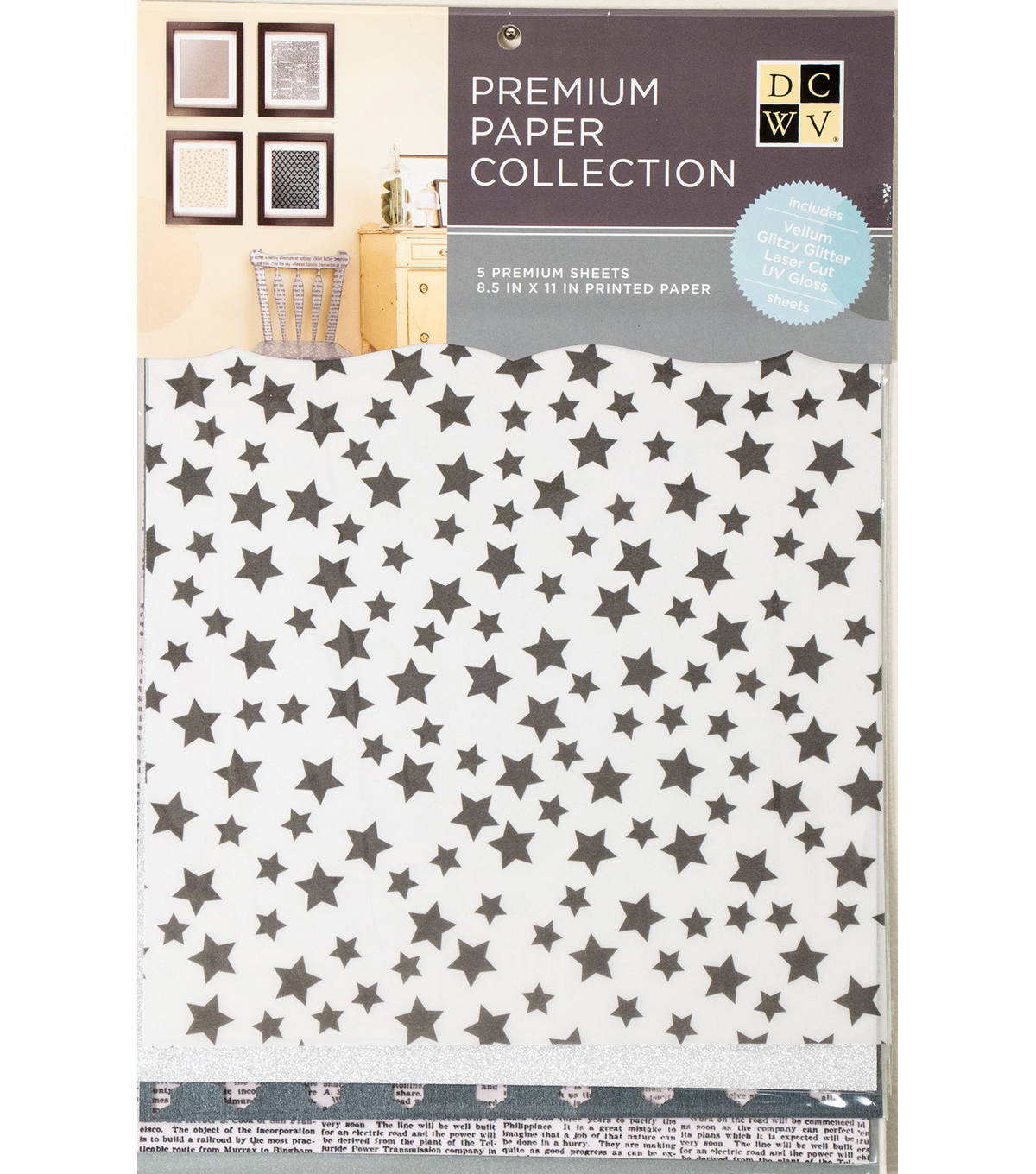 "DCWV 8.5""X11"" set of 5 Premium Papers-Black and Silver Assortment"