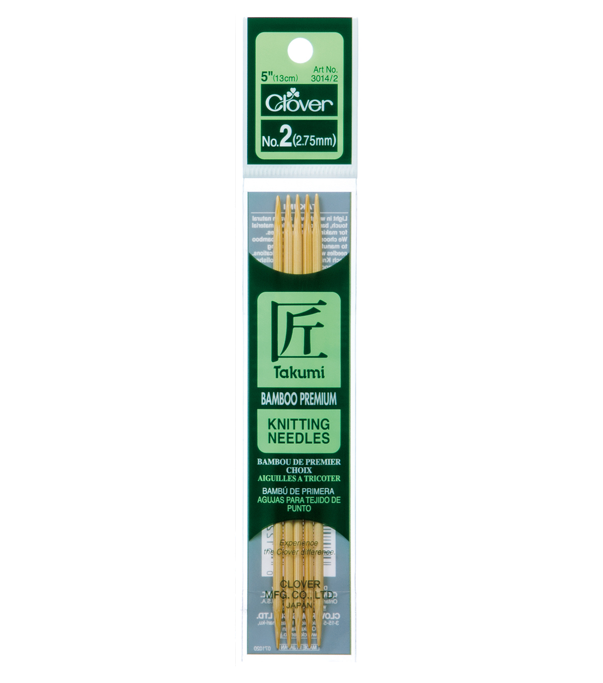 Clover Bamboo Double Point Knitting Needles 5\u0022 Set Of 5-Size 2