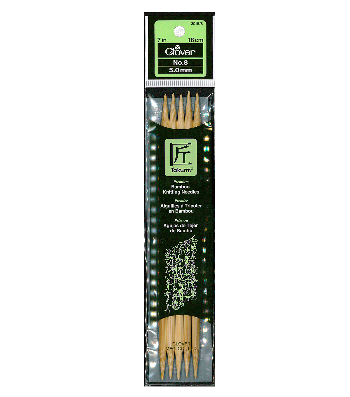Clover Bamboo Double Point Knitting Needles 7\u0022-Size 8