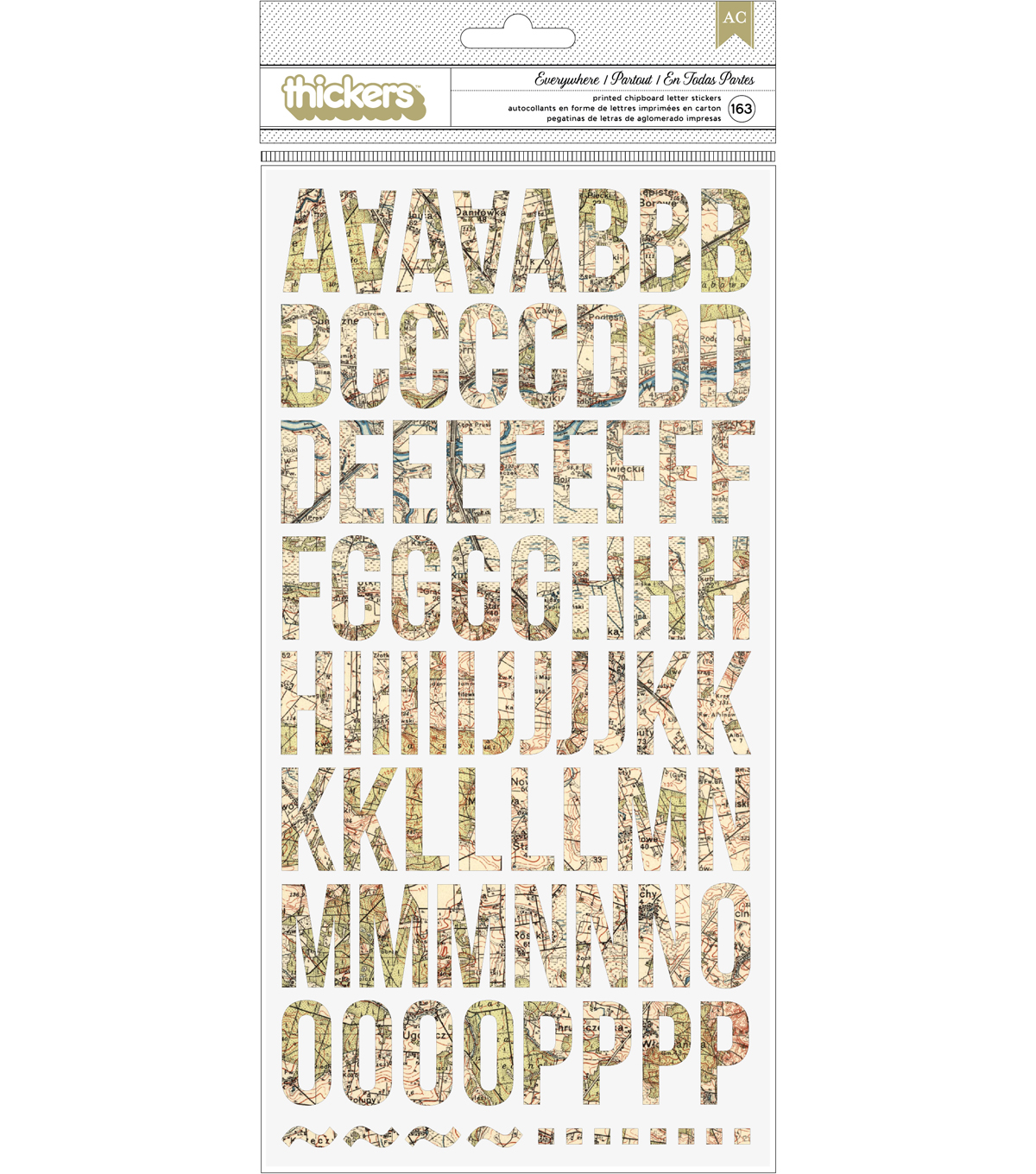 American Crafts™ Thickers Pack of 163 Everywhere Stickers-Letters