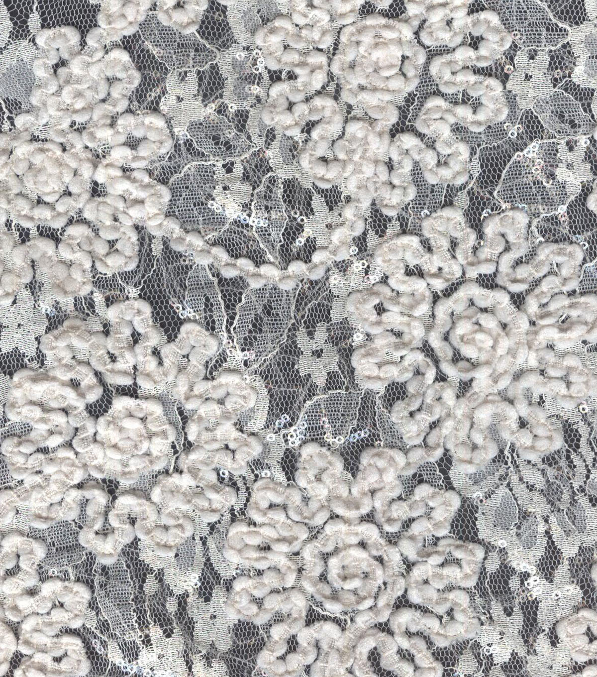 Bridal Inspirations Sequined Mesh Fabric 54\u0022-Embroidered Floral Ivory