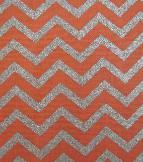 "Keepsake Calico™ Cotton Fabric 43""-Coral and Silve Chevron"