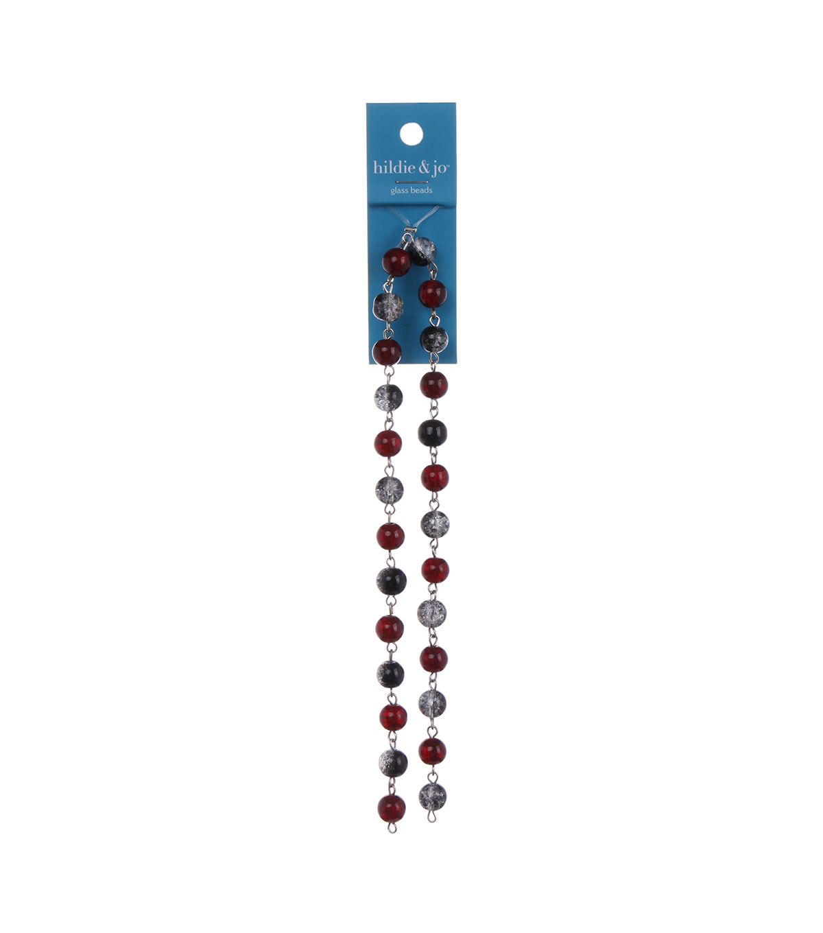 Blue Moon Strung Glass w/Metal Beaded Chain,Round,Red & Black w/Silver