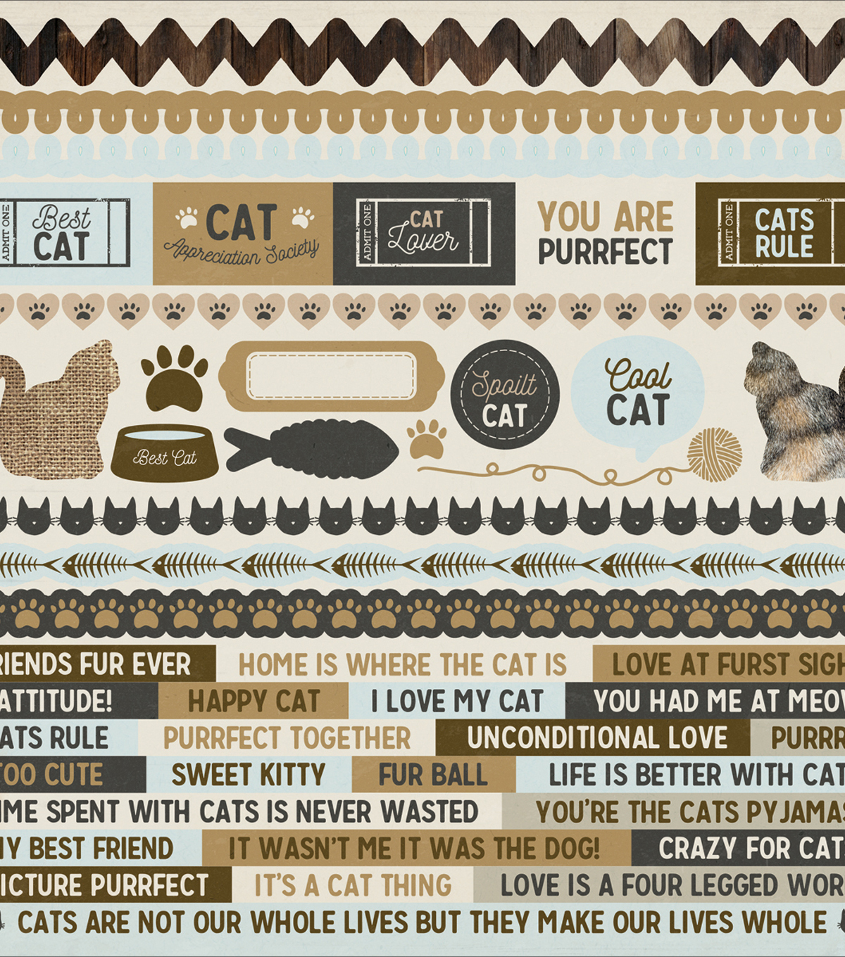 Kaisercraft Pawfect 12\u0027\u0027x12\u0027\u0027 Printed Sticker Sheet-Cat