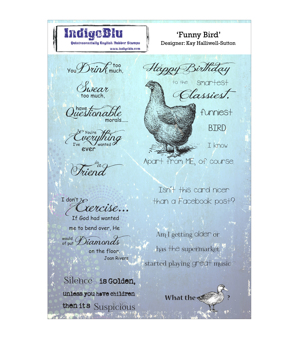 Indigoblu Funny Bird Cling Mounted Stamp