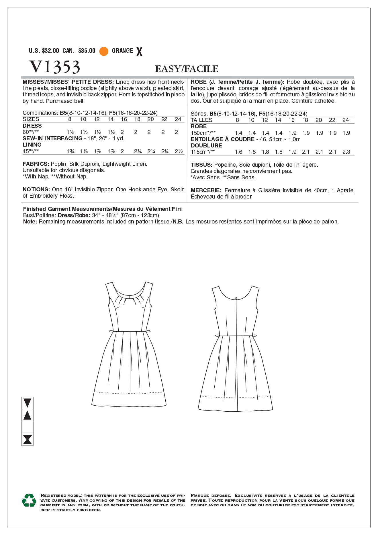 Vogue Patterns Misses Dress-V1353