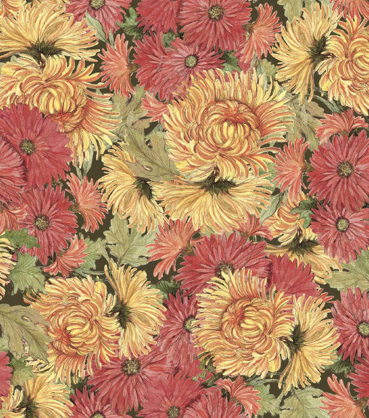 Susan Winget Cotton Fabric 44\u0027\u0027-Packed Mums & Marigolds