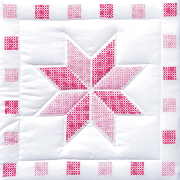 Stamped White Quilt Blocks 18\u0022X18\u0022 6/Pkg- Star