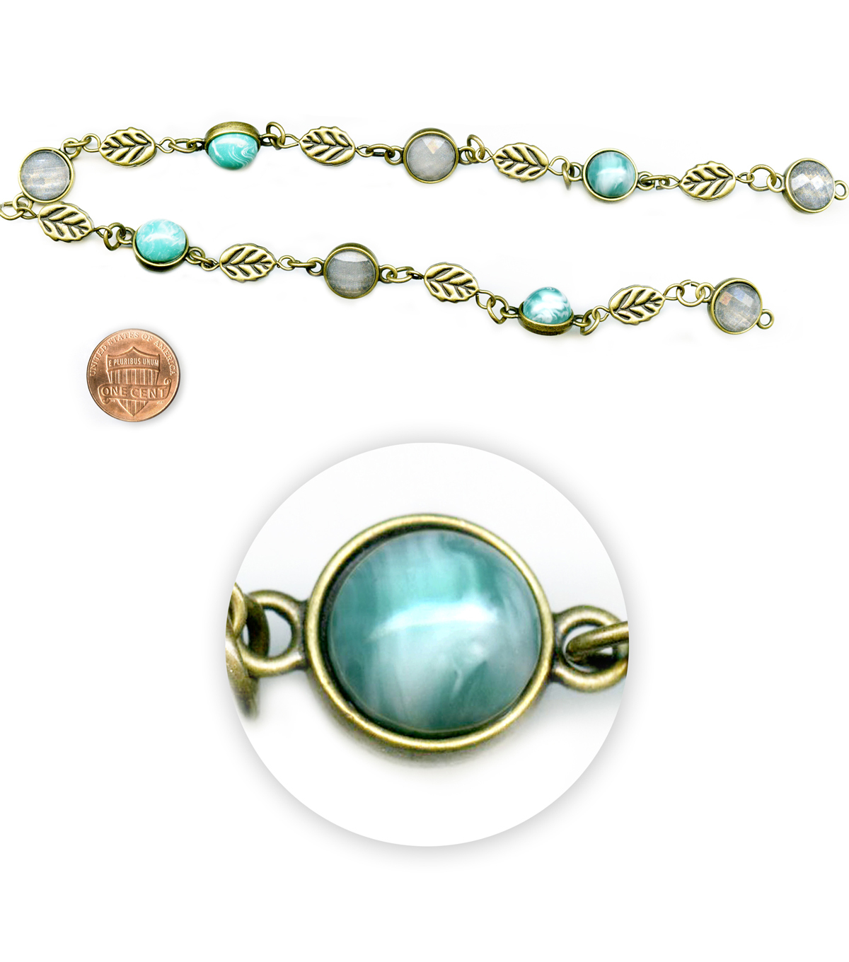 Blue Moon Beads 14\u0022 Strand, Metal Connectors, Ox Brass with Turquoise