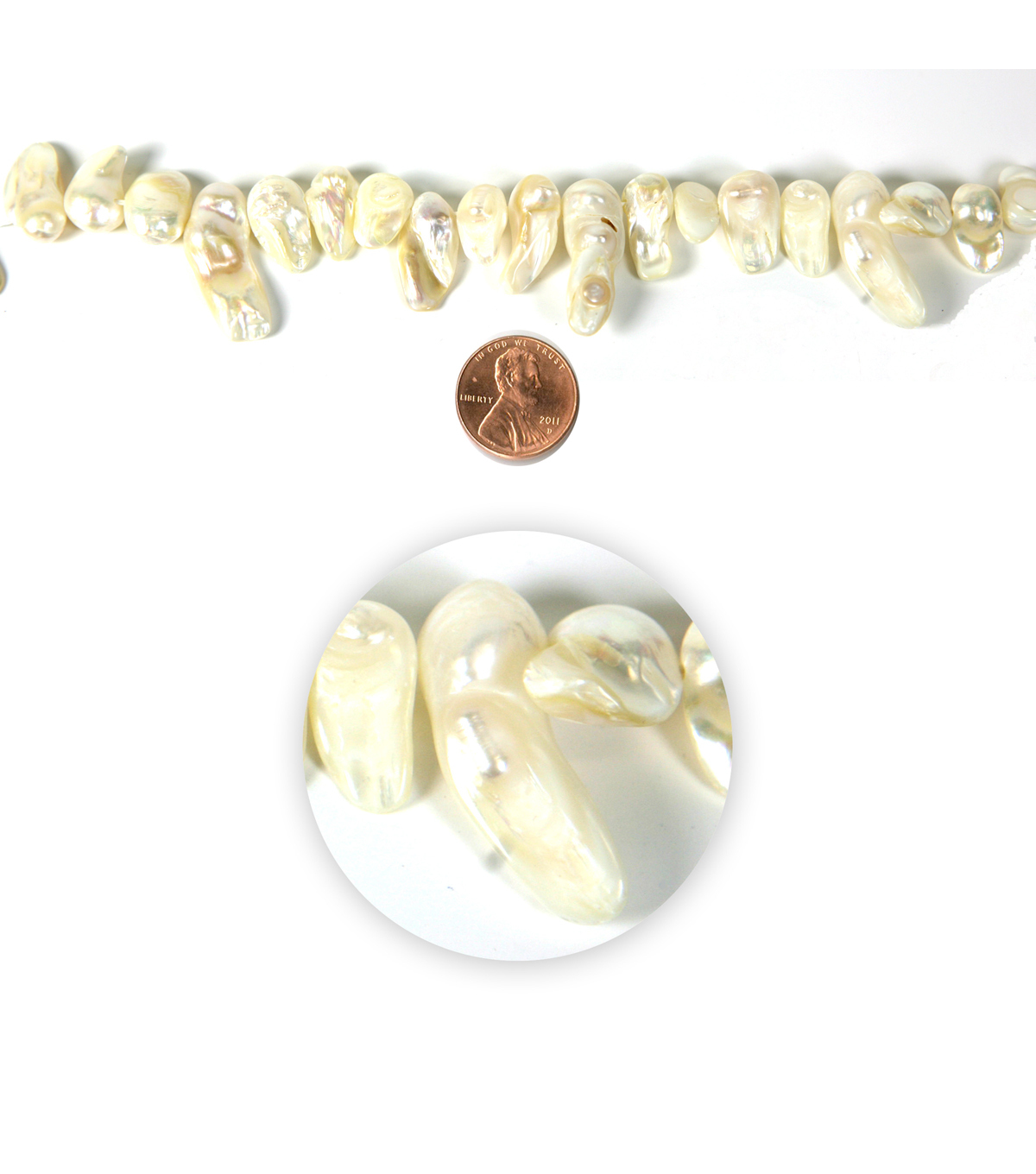 Blue Moon Strung Freshwater Pearl Beads,Irregular Tooth,Ivory