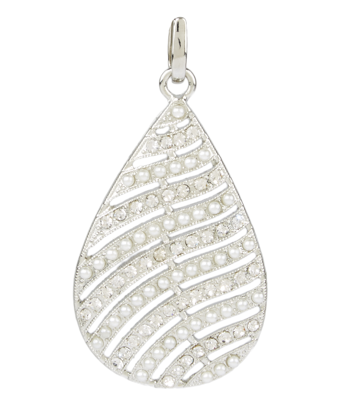 Feather Pendent Pearl Crystal