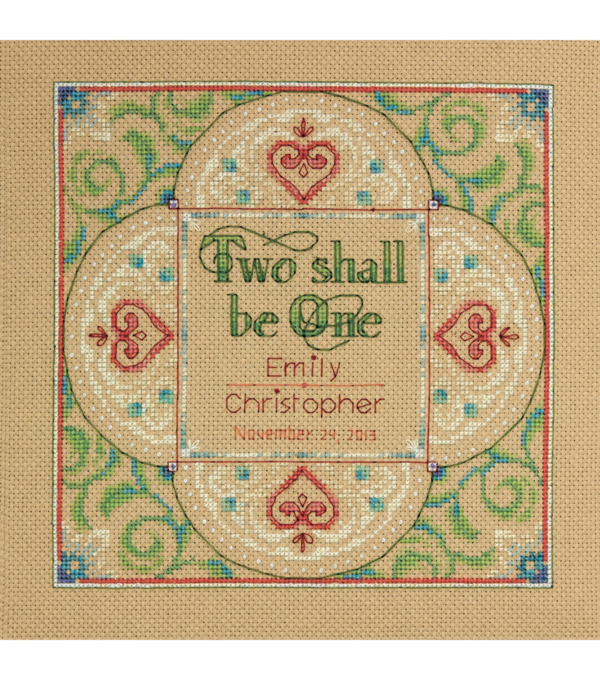 Two As One Wedding Record Counted Cross Stitch Kit-10\u0022X10\u0022 14 Count
