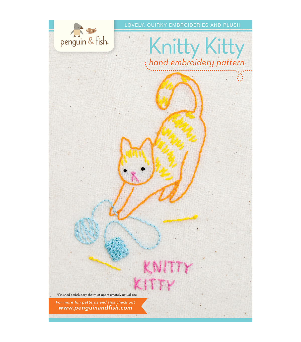 Knitty Kitty Hand Embroidery Pattern
