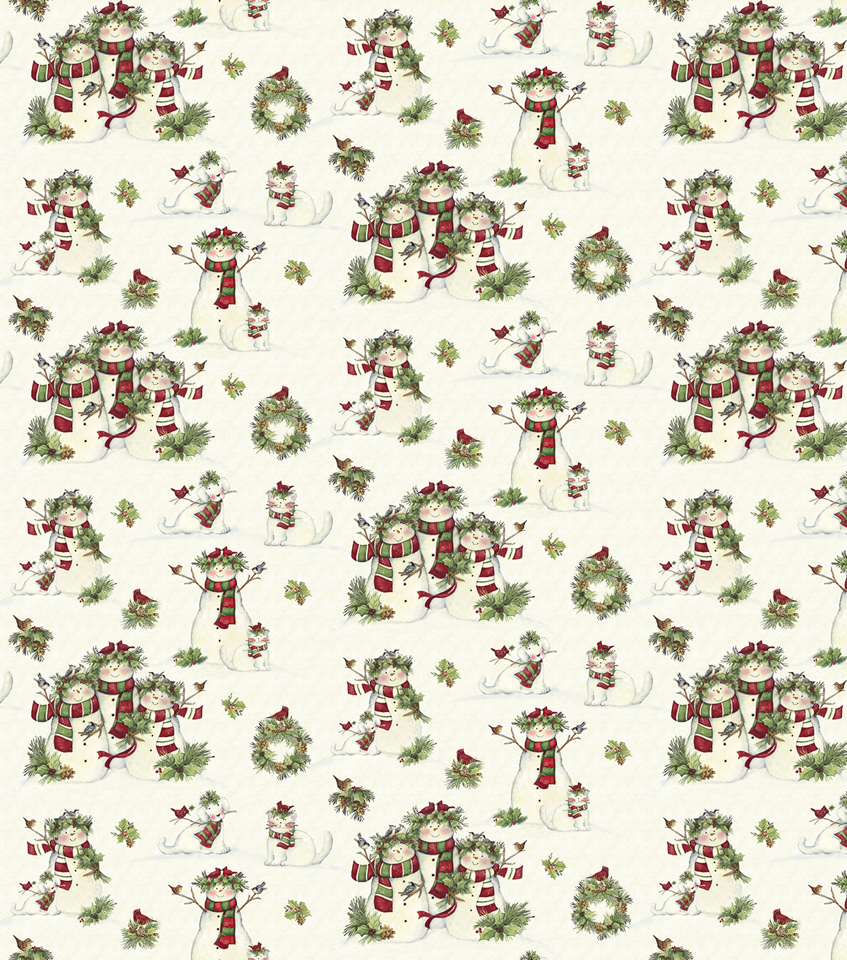 Susan Winget Cotton Fabric 43\u0022-Snowmen and Pets