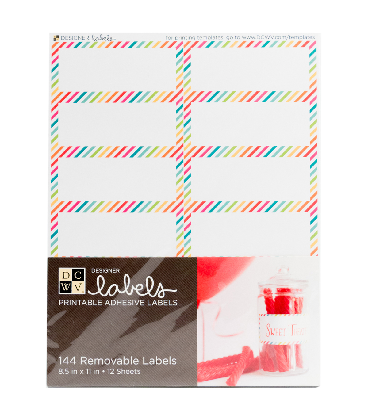 DCWV Rectangle Labels with Primary Color-Striped Edges