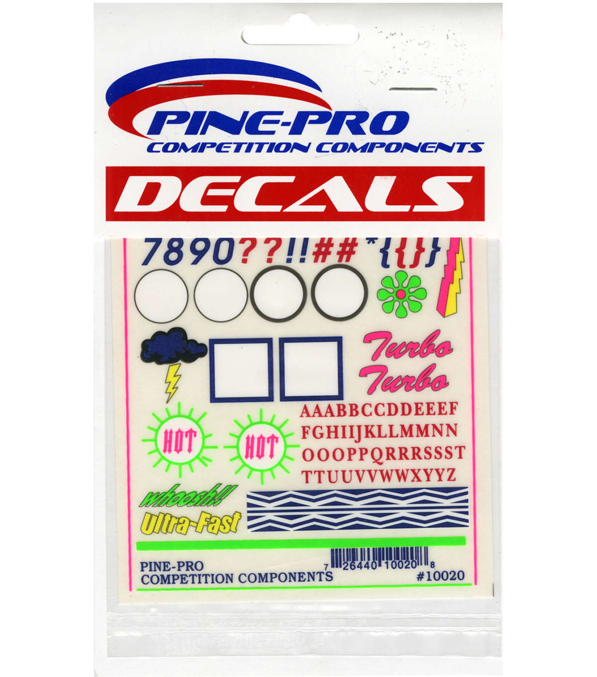 "Pine Car Derby Decal 4""X5""-Numbers & Letters"