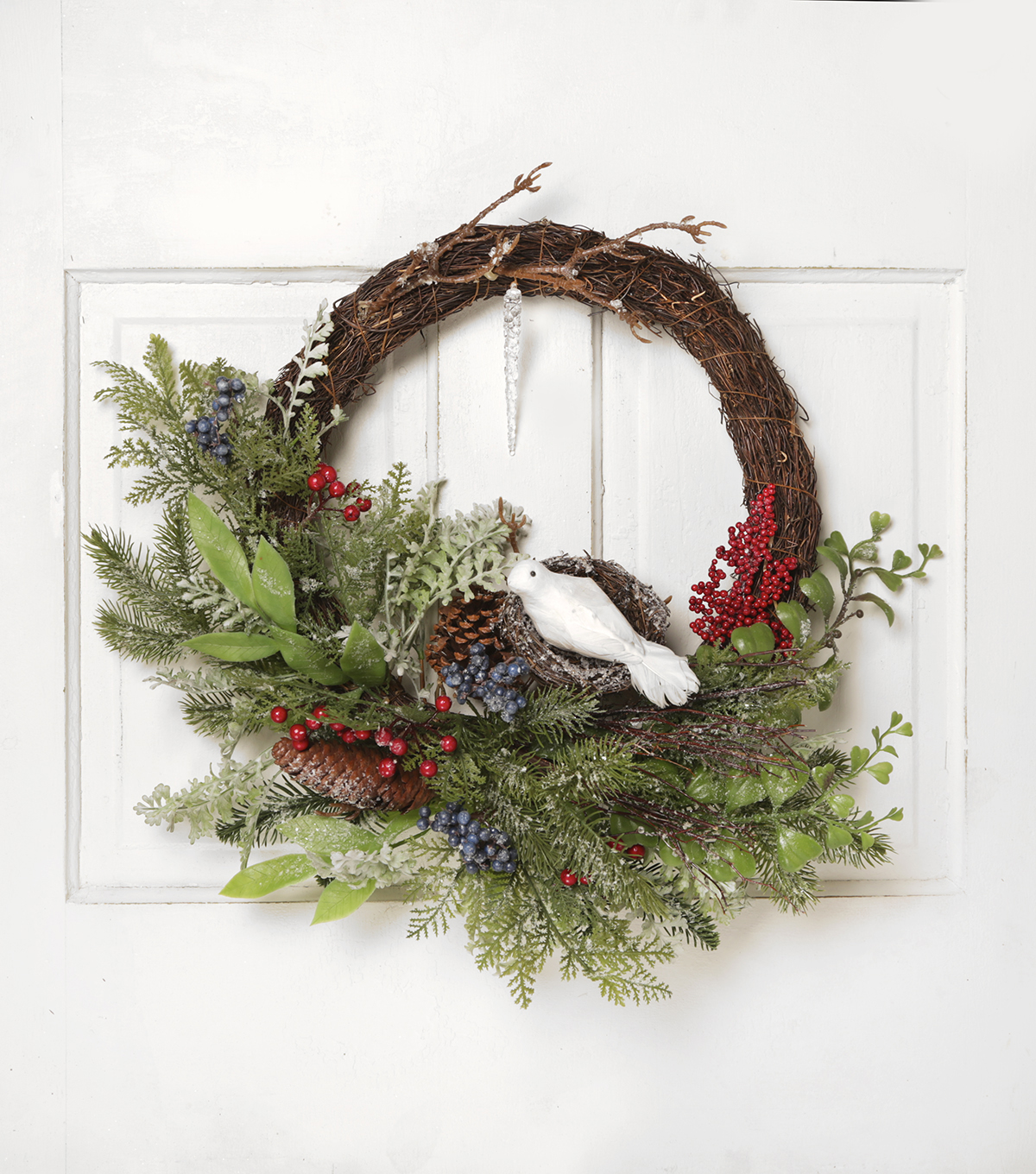 Blooming Holiday 24\u0027\u0027 Grapevine, Dove, Berry & Pinecone Wreath