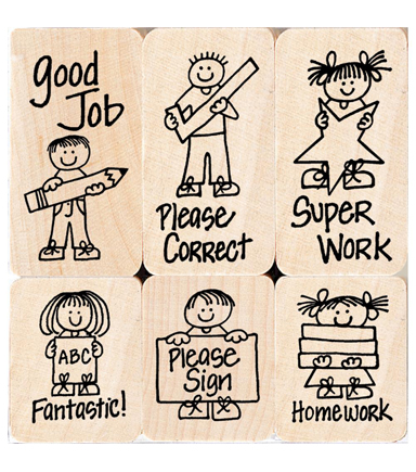 Hero Arts® Wood Mounted Rubber Stamps-Little Hero Kids For Teachers