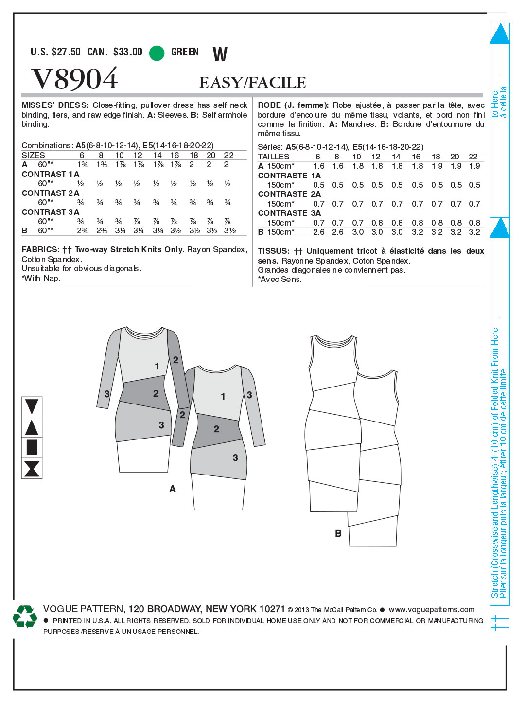 Vogue Patterns Misses Dress-V8904