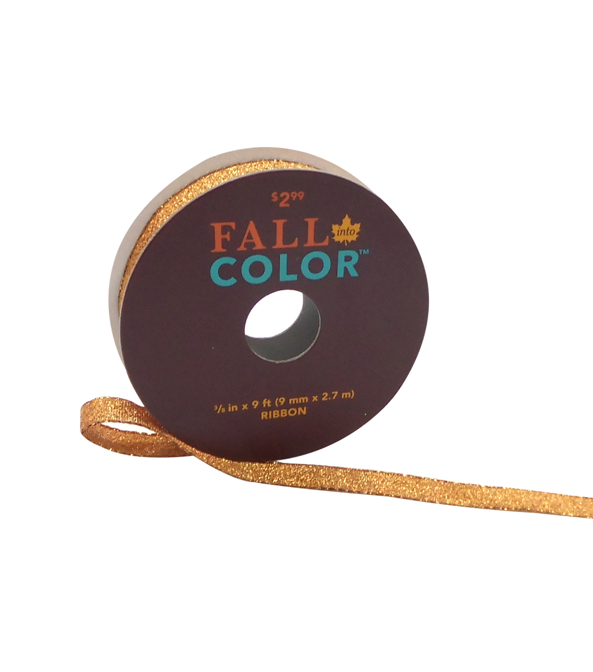 Fall Into Color Lame Ribbon 3/8''x9'-Copper