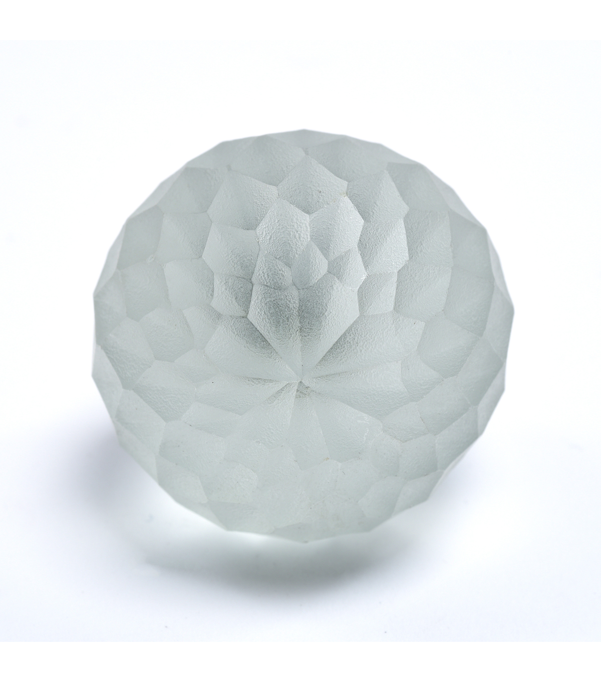 Dritz Home Frosted Glass Faceted Ball Knob-Ivory