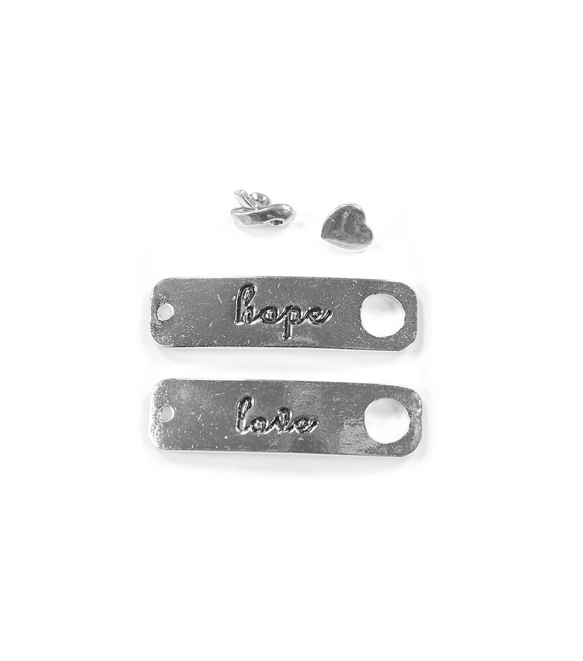 Blue Moon Findings Clasp Metal Toggle Rectangle Love Hope Antique Silver