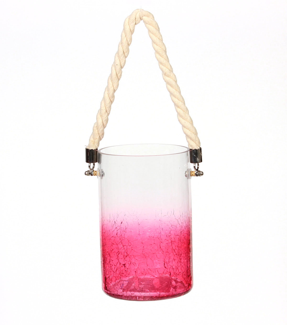 Summer Sol Glass Lantern with Rope-Pink Ombre