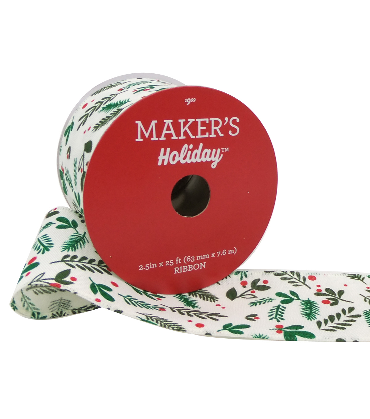 Maker\u0027s Holiday Christmas Ribbon 2.5\u0027\u0027x25\u0027-Leaves on White