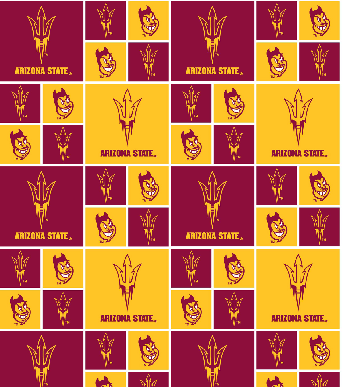Arizona State University Sun Devils Cotton Fabric 43\u0022-Block