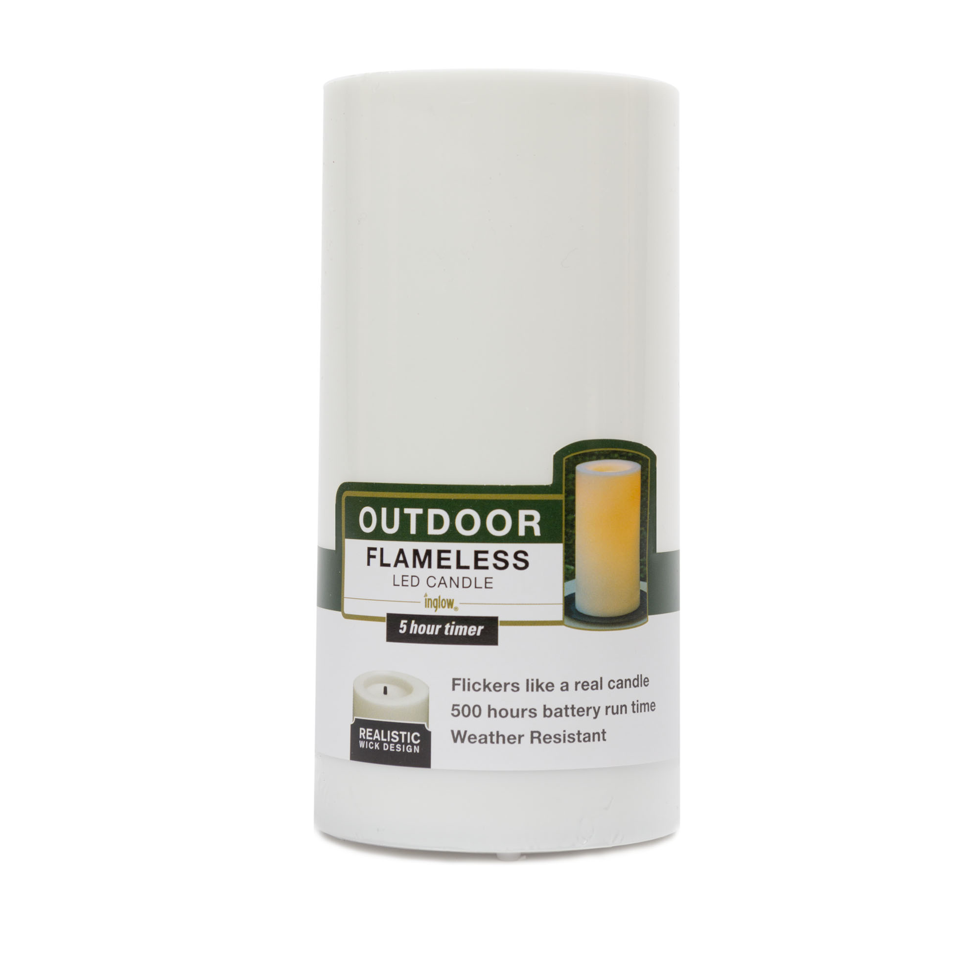 Hudson 43™ Candle&Light Collection 3 X 6 Outdoor Plastic Pillar - White