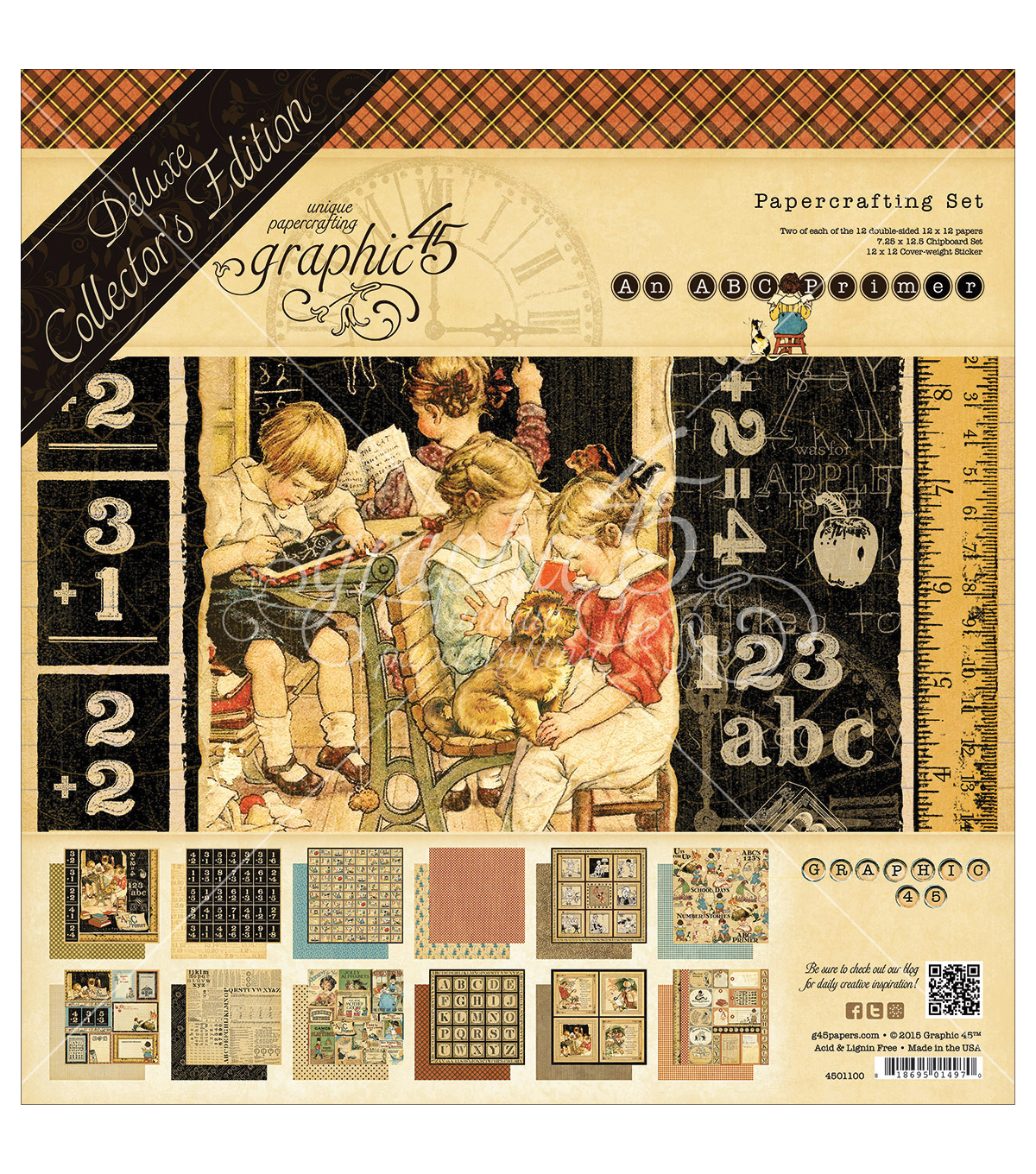 Graphic 45 Deluxe Collector\u0027s Edition Pack 12\u0022X12\u0022-ABC Primer