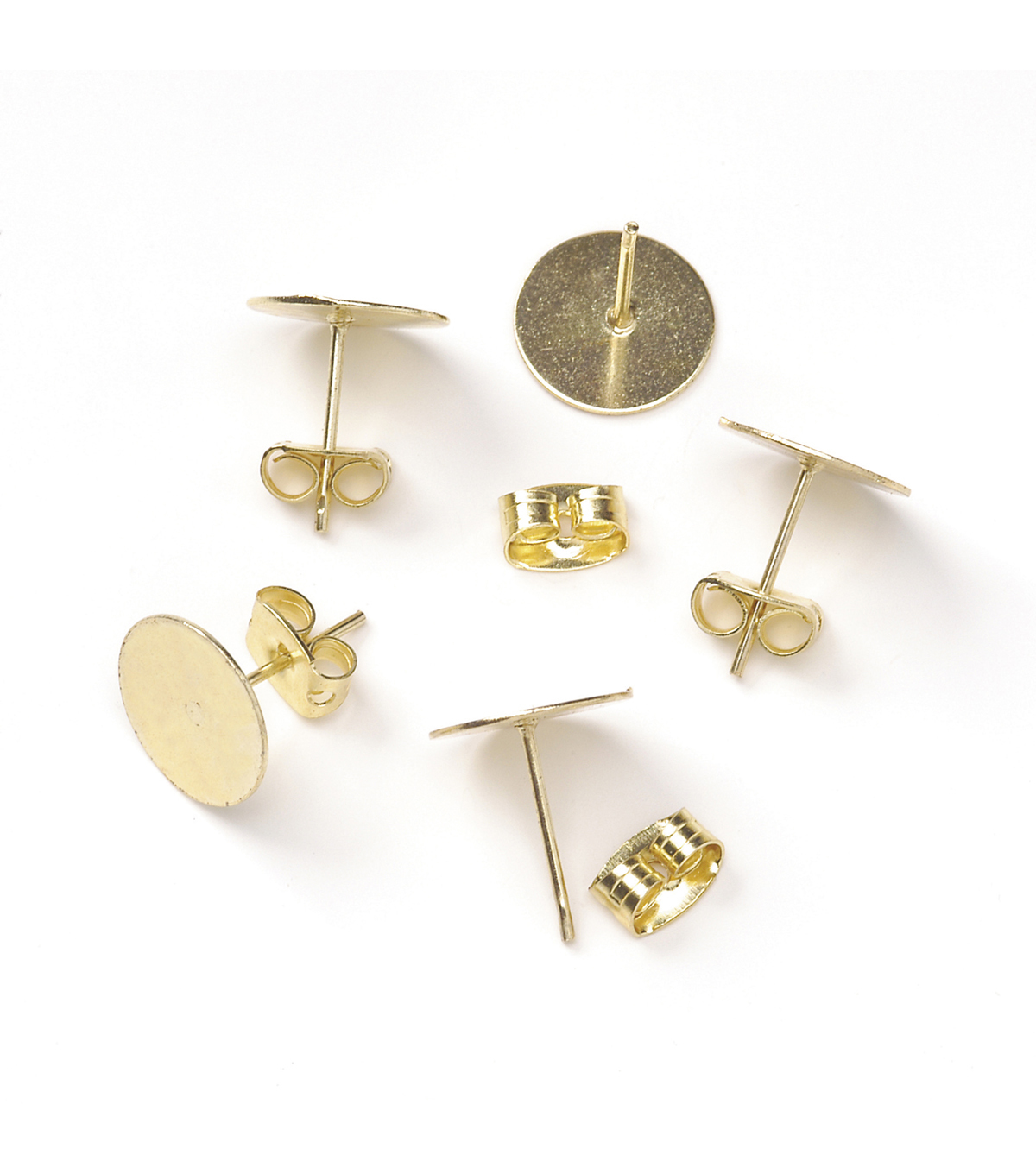 Brass Earring Post with 10mm Pad, Gold
