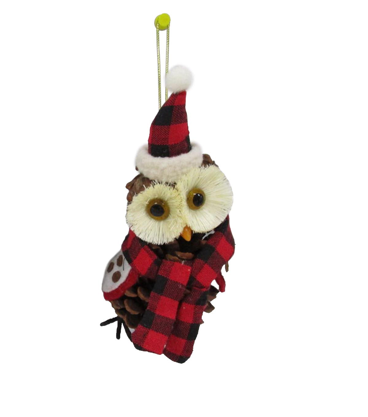 Maker\u0027s Holiday Woodland Lodge Pinecone Owl with Scarf Ornament