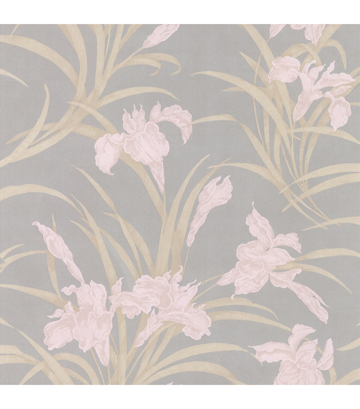 Vivianne Grey Iris Floral  Wallpaper Sample