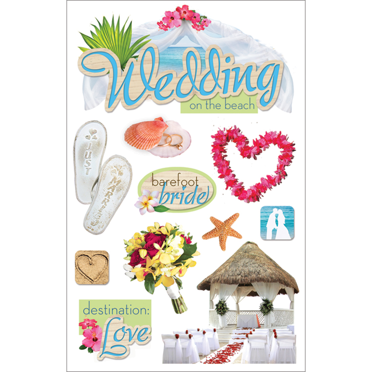 Paper House 3D Sticker Beach Wedding