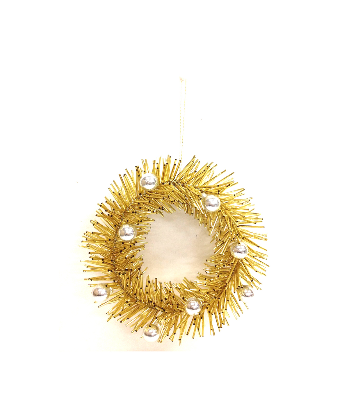 Holiday Cheer Gold Spiked Wreath Ornament