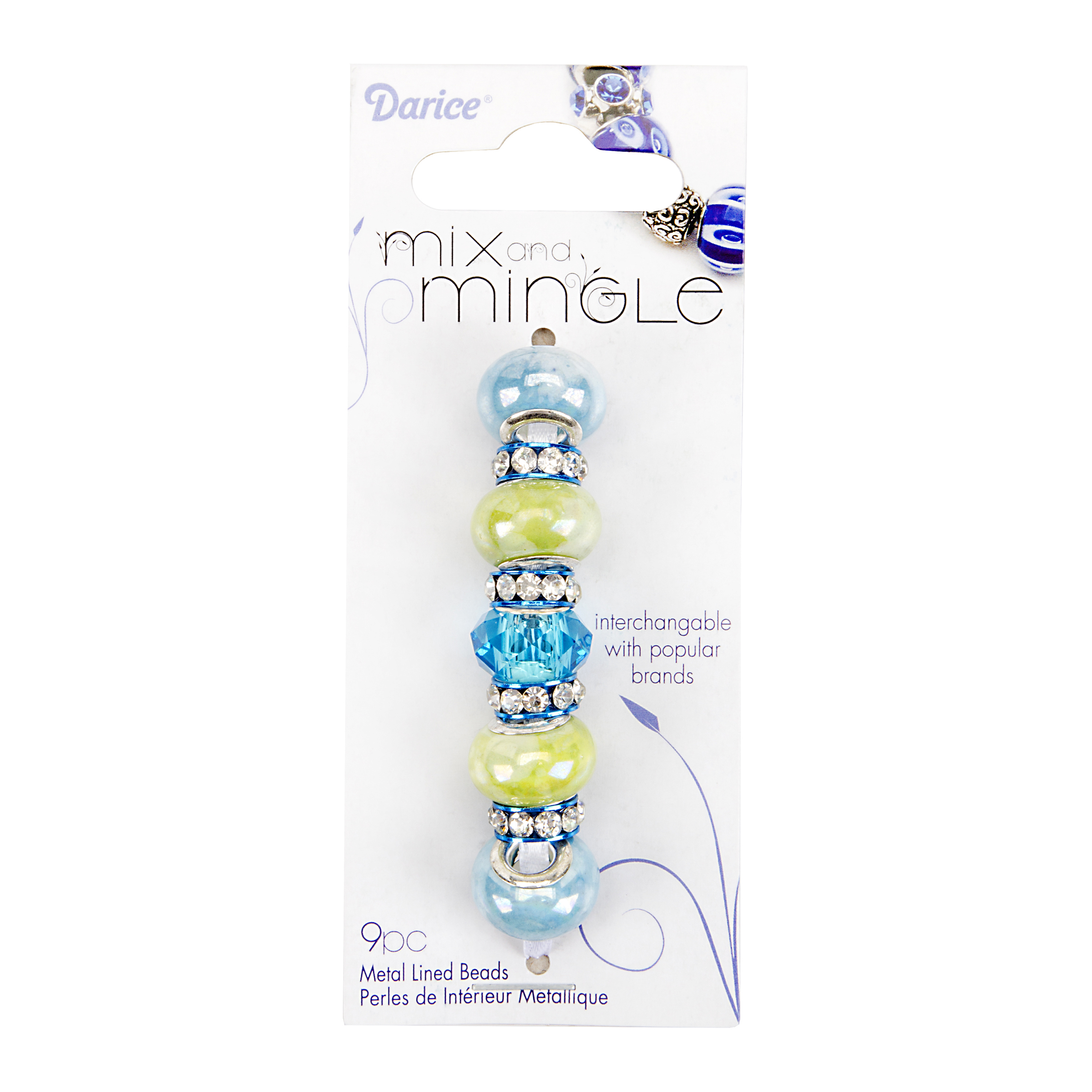 Mix and Mingle Pearlized Blue/Green Beads - Rhinestone Rim Spacers, 9pc